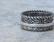 Silver Stacking Rings Floral Pattern Rustic Antique Band