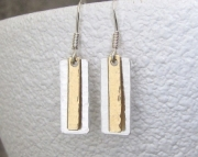 Silver Brass Hammered Tab Stick Earrings