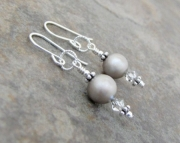 Platinum Pearl Swarovski Crystal Silver Earwire Earrings