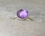 Amethyst Silver Ring Purple Rose Cut Solitaire