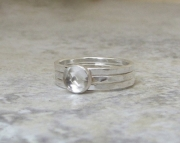 White Topaz Engagement Ring Silver Wedding Band Set