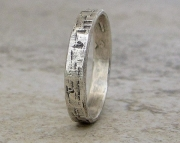 Silver Hammered Bark Ring Distressed Oxidized Band