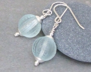 Ice - Frosty Light Blue Lucite Sterling Silver Earrings