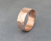 Copper Hammered Ring Wide Band