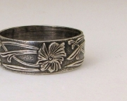 Floral Pattern Ring Silver Wedding Band Antiqued Bouquet Wedding Ring