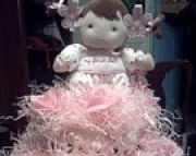 My First Doll Pretty in Pink and Brown Two Tier Diaper Cake Feminine Easter Baby Shower Gift Girl Ne