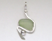 Sea Glass Jewelry - Sterling Rare UV Sea Glass Pendant