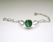 Sea Glass Jewelry - Sterling Rare Victorian English Sea Glass Bracelet