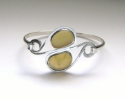 Sea Glass Jewelry - Sterling Rare Yellow Sea Glass Bracelet