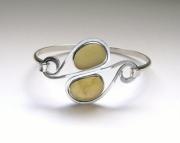 Sea Glass Jewelry - Sterling Rare Yellow Sea Glass Bracelet