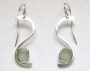 Sea Glass Jewelry - Sterling Pale Green Sea Glass Earrings