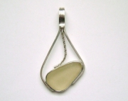 Sea Glass Jewelry - Sterling Rare Yellow Sea Glass Pendant