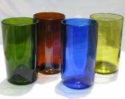 Recycled Wine Bottle Tumblers Yellow, Green, Amber and Cobalt Blue