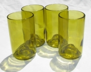 Recycled Wine Bottle Tumblers in Yellow