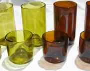 Recycled Wine Bottle Tumblers 8 Yellow and Amber