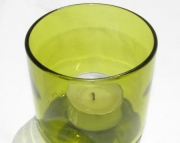 Recycled Wine Bottle  Yellow Candle Holder