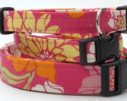 Dog Collar  SNAP DRAGON PINK Pink Orange Green Yellow White