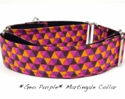 Dog Martingale Collar Geo Purple