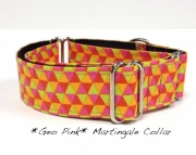 Dog Martingale Collar Geo Pink