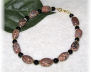 Leopard skin jasper and onyx beaded anklet