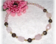 Rose quartz and bronzite chunky beaded necklace