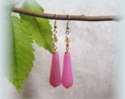 Dragon agate and Swarovski crystal teardrop earrings