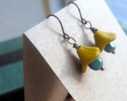 Mustard and Turquoise Flower Earrings