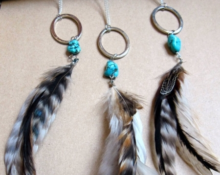 Turquoise Chunk and Feather Necklace