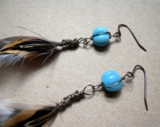 Sky Blue Wire Wrapped Feather Earrings