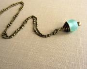 Teal Sea Glass Pendant Necklace