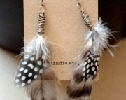 Zulu. Simple Wire Wrapped Feather Earrings