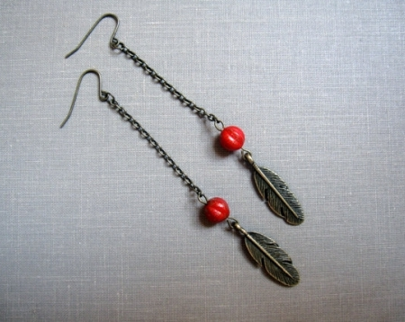 Fiery Red Feather Chain Earrings