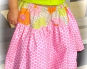 Boutique Twirl Skirt size 3t Pink polkadot with flowers