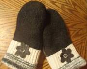 Black Grey and White Felted Sweater Wool Mittens Upcycled Repurposed OAK Gift FREE SHIPPING