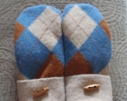Felted Wool Mittens Blue & Brown Argyle Recycled Upcycled Repurposed Sweater Warm-OAK Christamas Gif