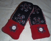 Black and Red Cutwork Sweater Felted Wool Mittens Recycled Upcycled Repurposed OAK Gift FREE SHIPPIN