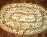 Crochet Rag Rug Gold Oval Recycled Repurposed Cotton Rag Nursery, Bath, Kitchen OAK