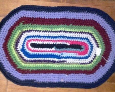 Crochet Rag Rug Multi Colored Oval Recycled Repurposed T Shirt Yarn ...