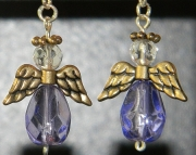 Light purple angel earrings