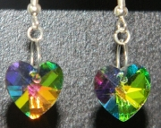 Multi colored crystal heart earrings