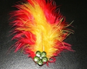 Red and yellow feather barrette