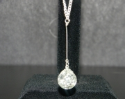Clear teardrop stone on silver chain