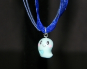 Blue ghost necklace with dark blue organza ribbon