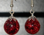 Ruby Red crackle stone earrings