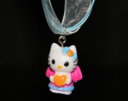 Hello Kitty charm on light blue organza ribbon
