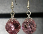 Pink crackle stone earrings