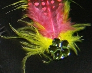 Pink and yellow feather barrette