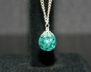 Teal stone on silver chain