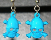 Light blue skull earrings