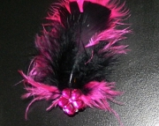 Black and pink feather barrette